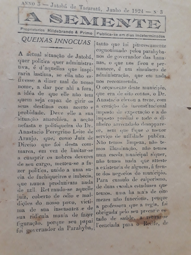 A Semente - ANO 3 - N. 3 - PAG. 1