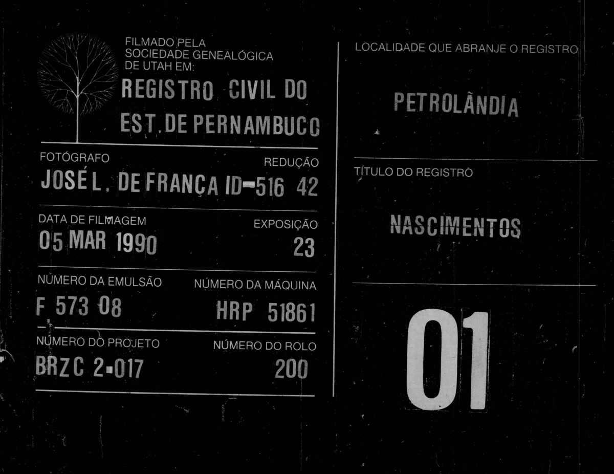 Documentos do Cartório de Registro Civil de Petrolândia(1889-2003)