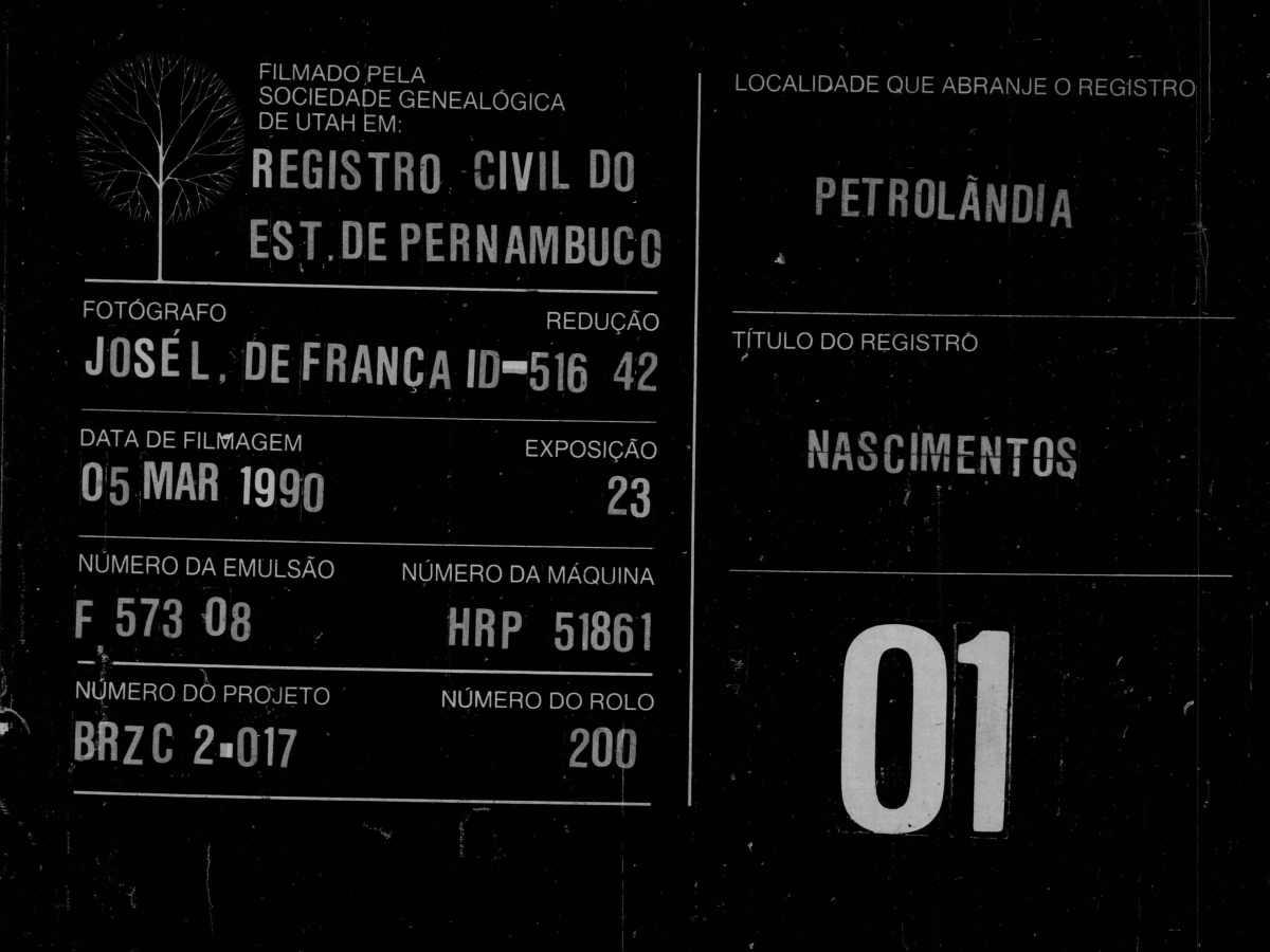 Rotulação de microfilme de Petrolândia